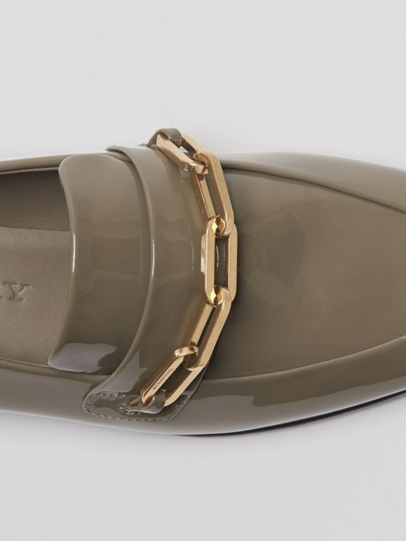 Link Detail Patent Leather Loafers in Taupe Grey - Women | Burberry Singapore - cell image 1