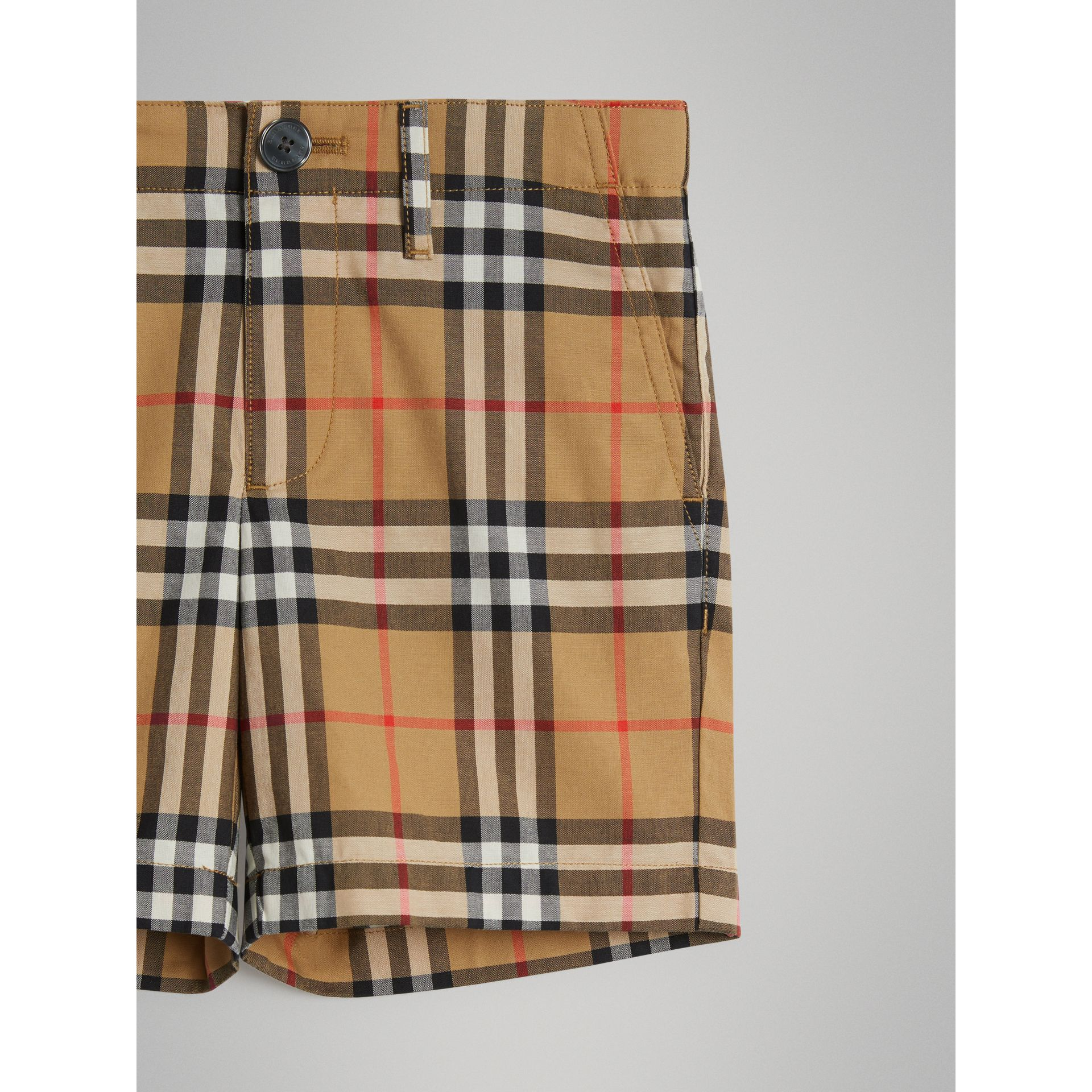 Vintage Check Cotton Tailored Shorts in Antique Yellow | Burberry United Kingdom - gallery image 4