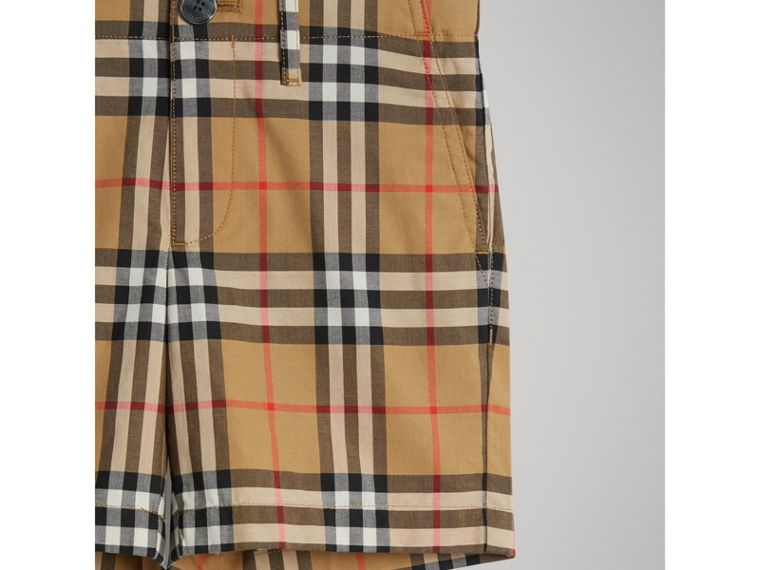 Vintage Check Cotton Tailored Shorts in Antique Yellow - Boy | Burberry - cell image 4