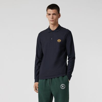 Long Sleeve Archive Logo Cotton Piqué Polo Shirt by Burberry