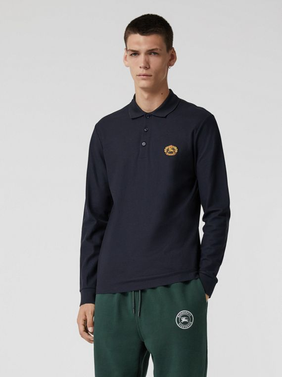 Long-sleeve Archive Logo Cotton Piqué Polo Shirt in Dark Navy