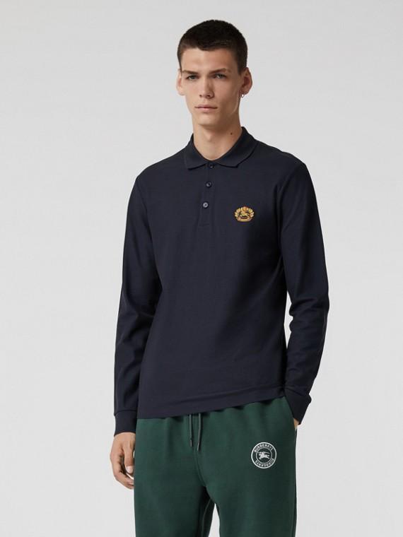 Camisa polo de mangas longas em algodão piquê com logo do acervo (Azul Marinho Escuro)