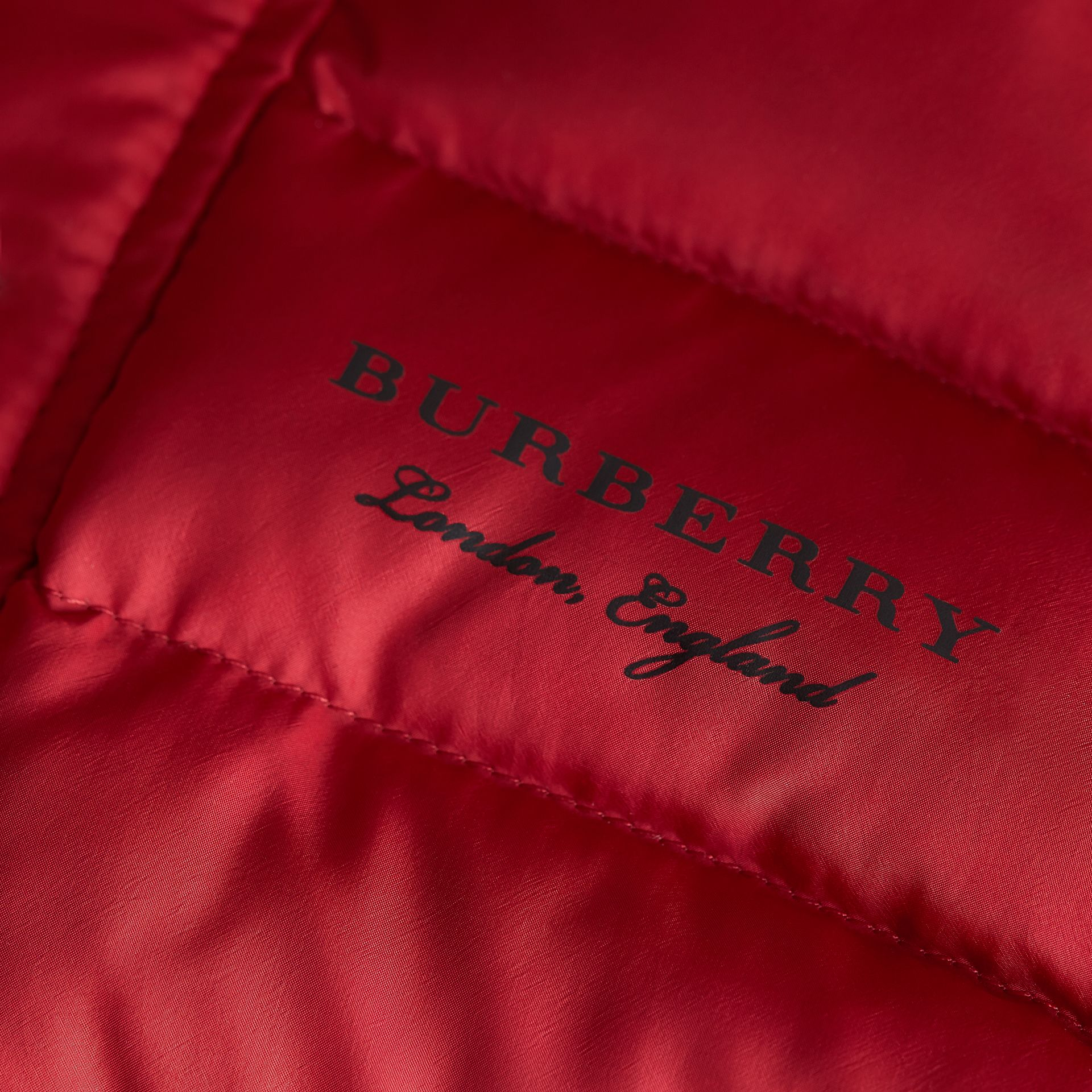 Shower-resistant Hooded Puffer Jacket in Parade Red | Burberry - gallery image 2