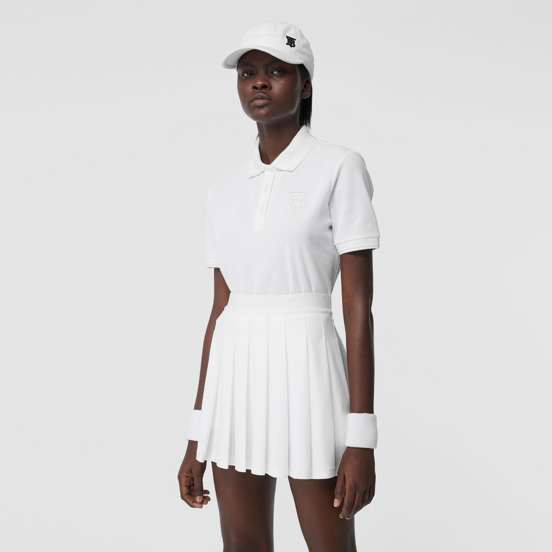 Monogram Motif Cotton Piqué Polo Shirt in White - Women | Burberry - gallery image 5
