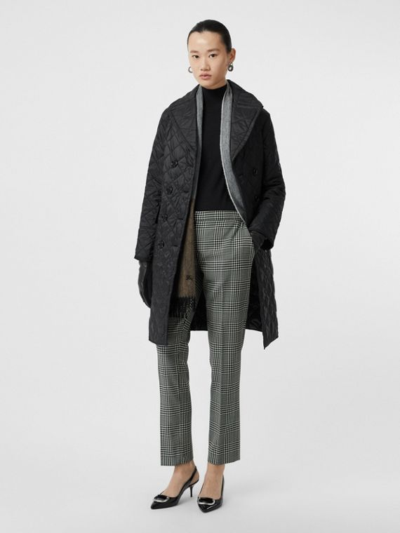 Straight Fit Prince of Wales Check Wool Trousers in Mist Green