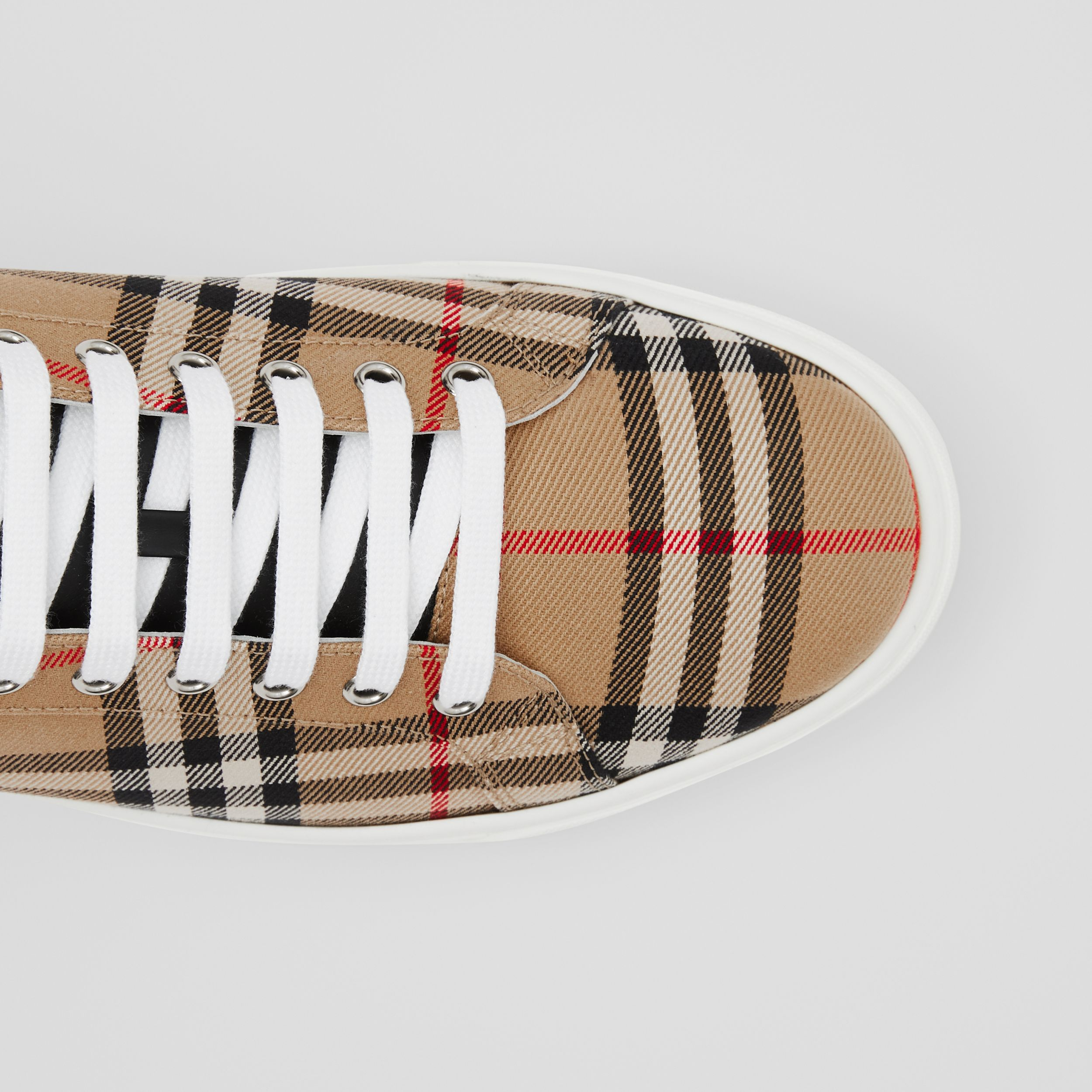 Bio-based Sole Vintage Check and Leather Sneakers in Archive Beige - Men | Burberry - 2