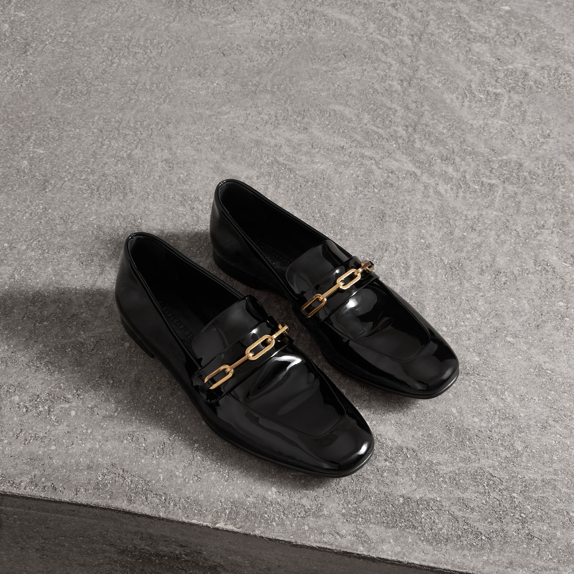 Link Detail Patent Leather Loafers in Black - Women | Burberry - gallery image 0