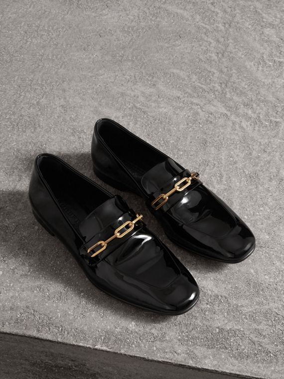 Link Detail Patent Leather Loafers in Black