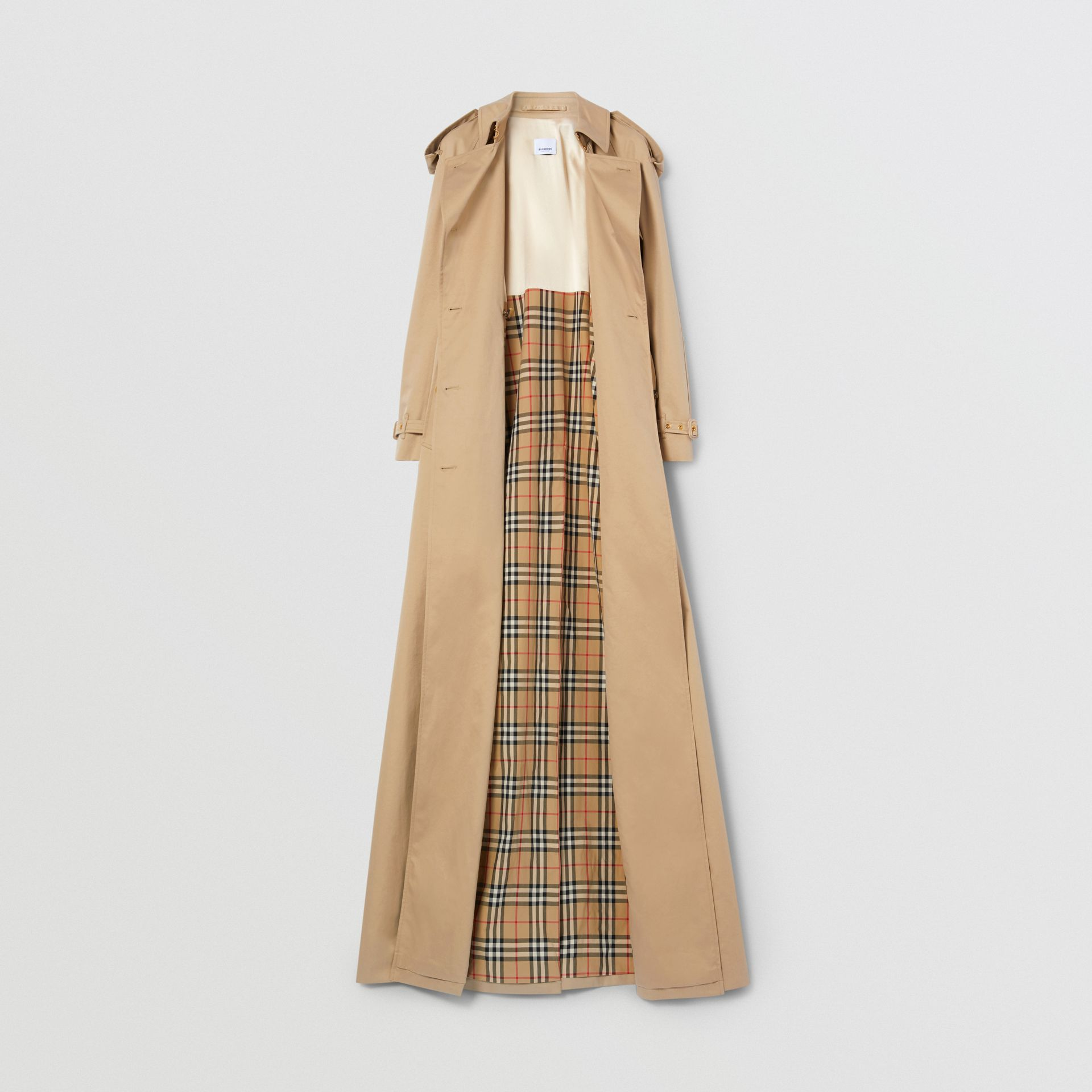 Extra Long Cotton Gabardine Trench Coat in Soft Fawn - Women | Burberry - gallery image 4