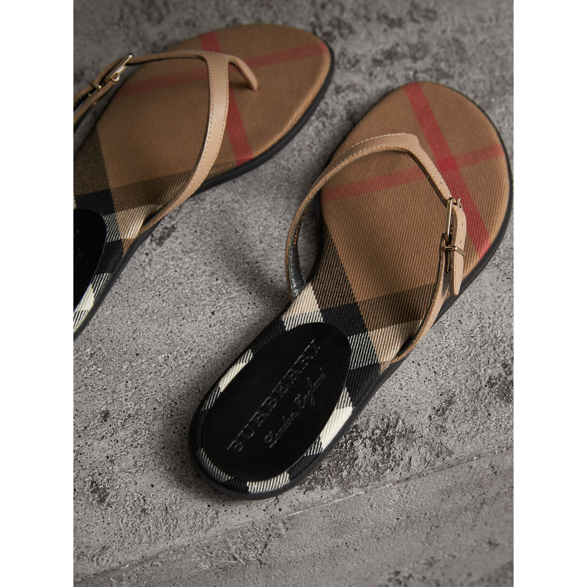House Check and Patent Leather Sandals in Honey - Women | Burberry United Kingdom - gallery image 4