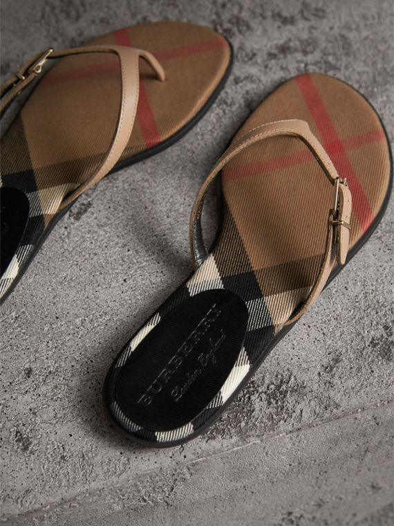 House Check and Patent Leather Sandals in Honey - Women | Burberry - cell image 3