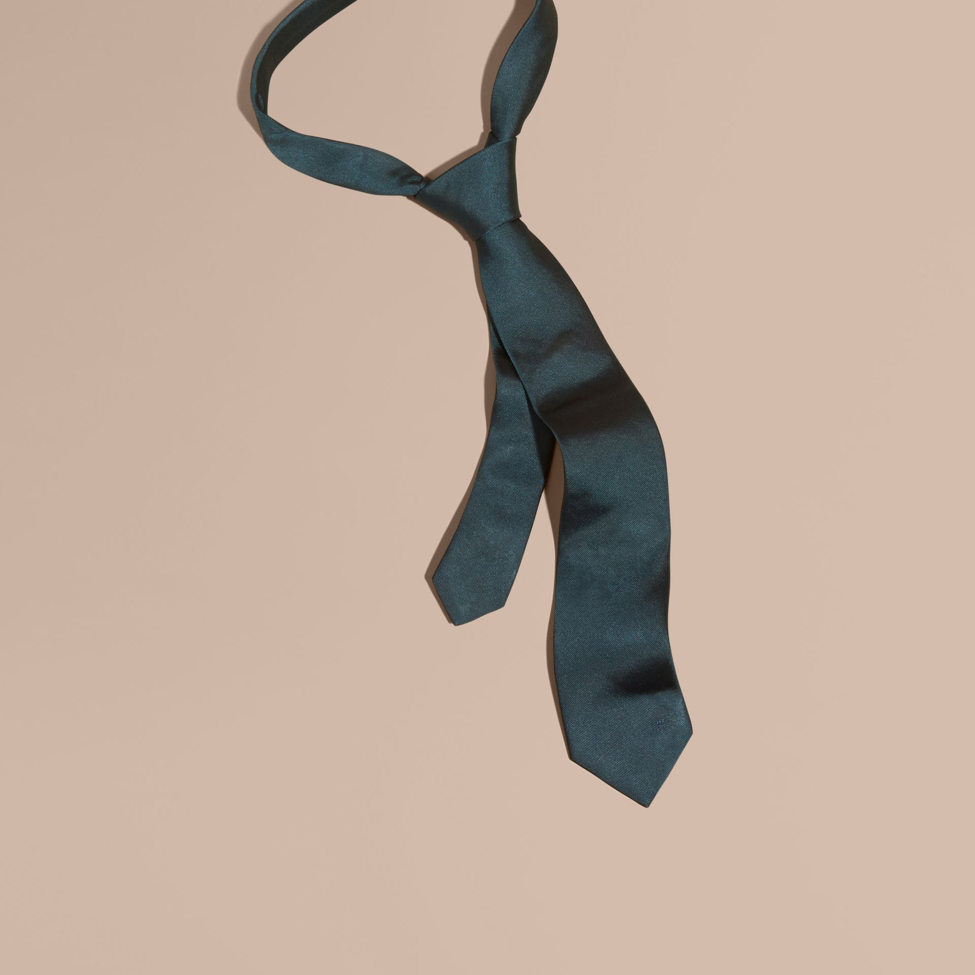 Green/black Modern Cut Silk Twill Tie - gallery image 1