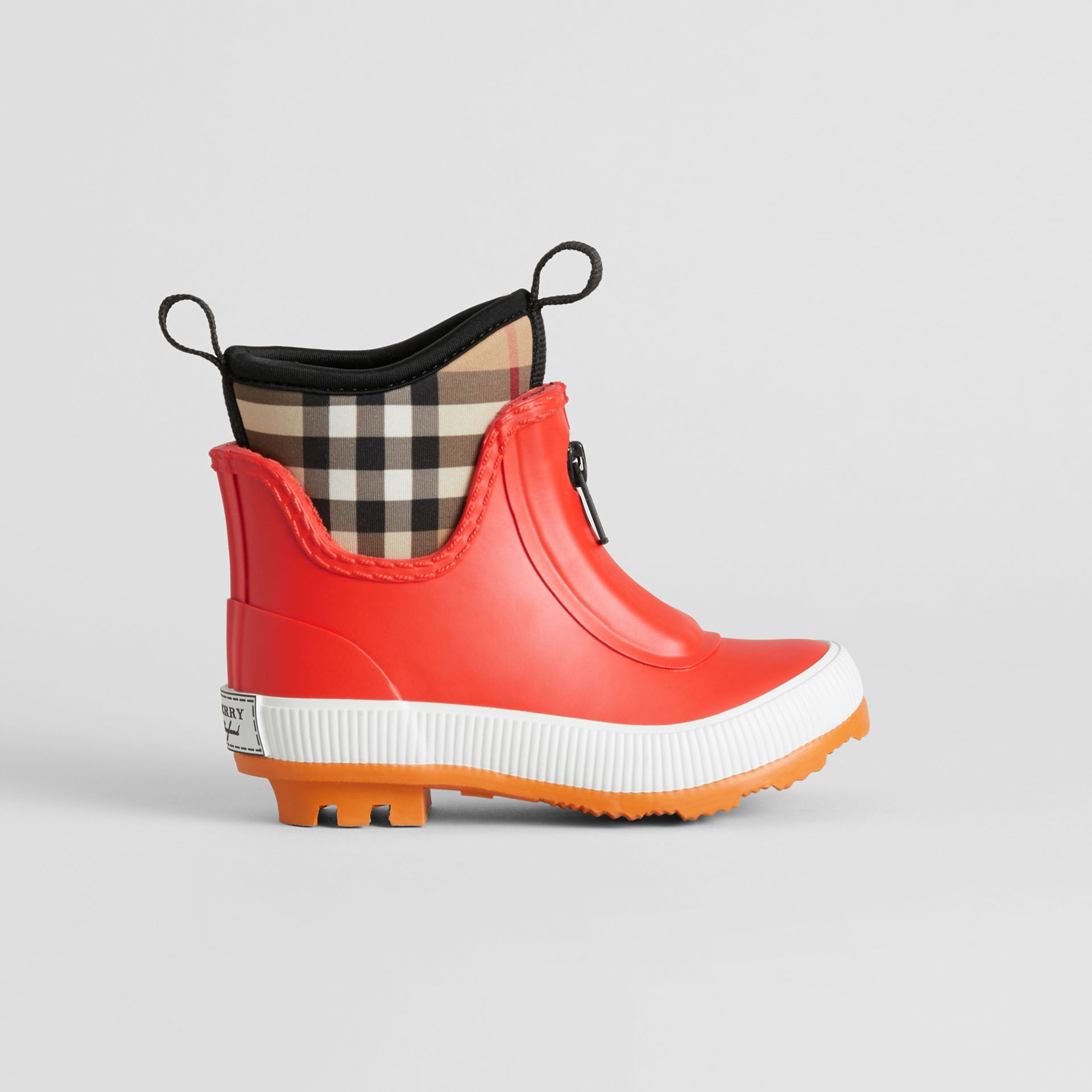 Vintage Check Neoprene and Rubber Rain Boots in Bright Red - Children | Burberry Singapore - gallery image 3