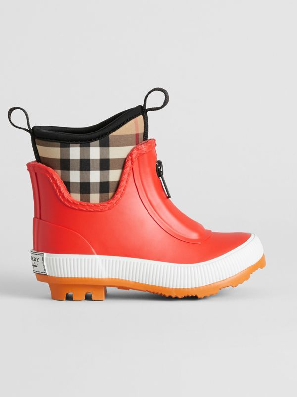 Vintage Check Neoprene and Rubber Rain Boots in Bright Red - Children | Burberry Singapore - cell image 3