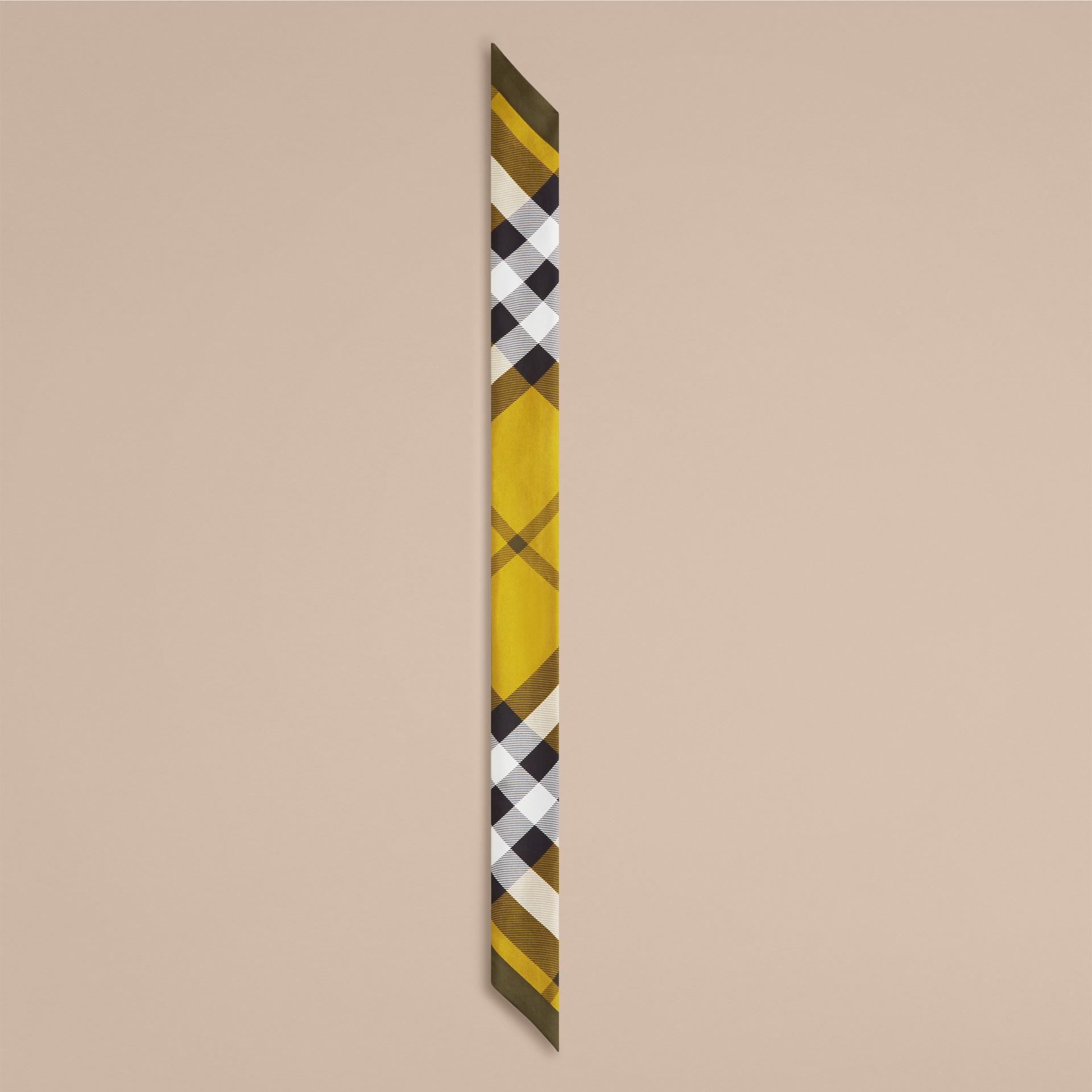 Lime scuro Sciarpa sottile in seta con stampa con motivo check Lime Scuro - immagine della galleria 4