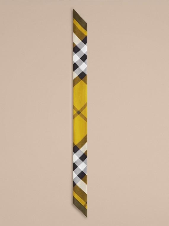 Lime scuro Sciarpa sottile in seta con stampa con motivo check Lime Scuro - cell image 3