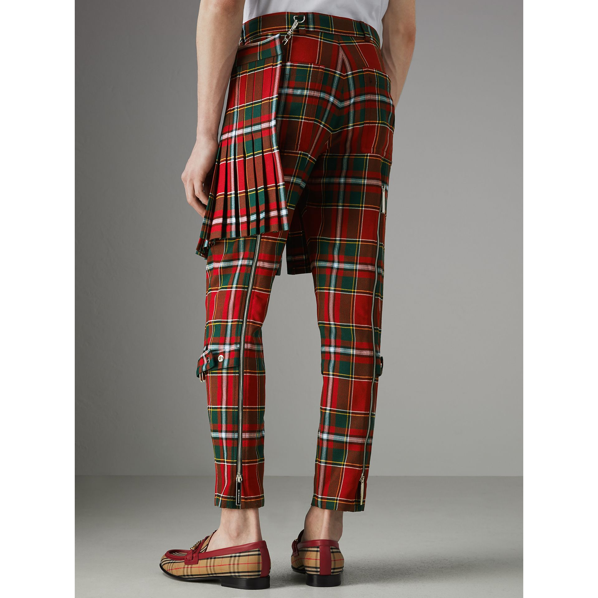 Modern Stewart Royal Tartan Punk Trousers in Bright Red | Burberry - gallery image 2