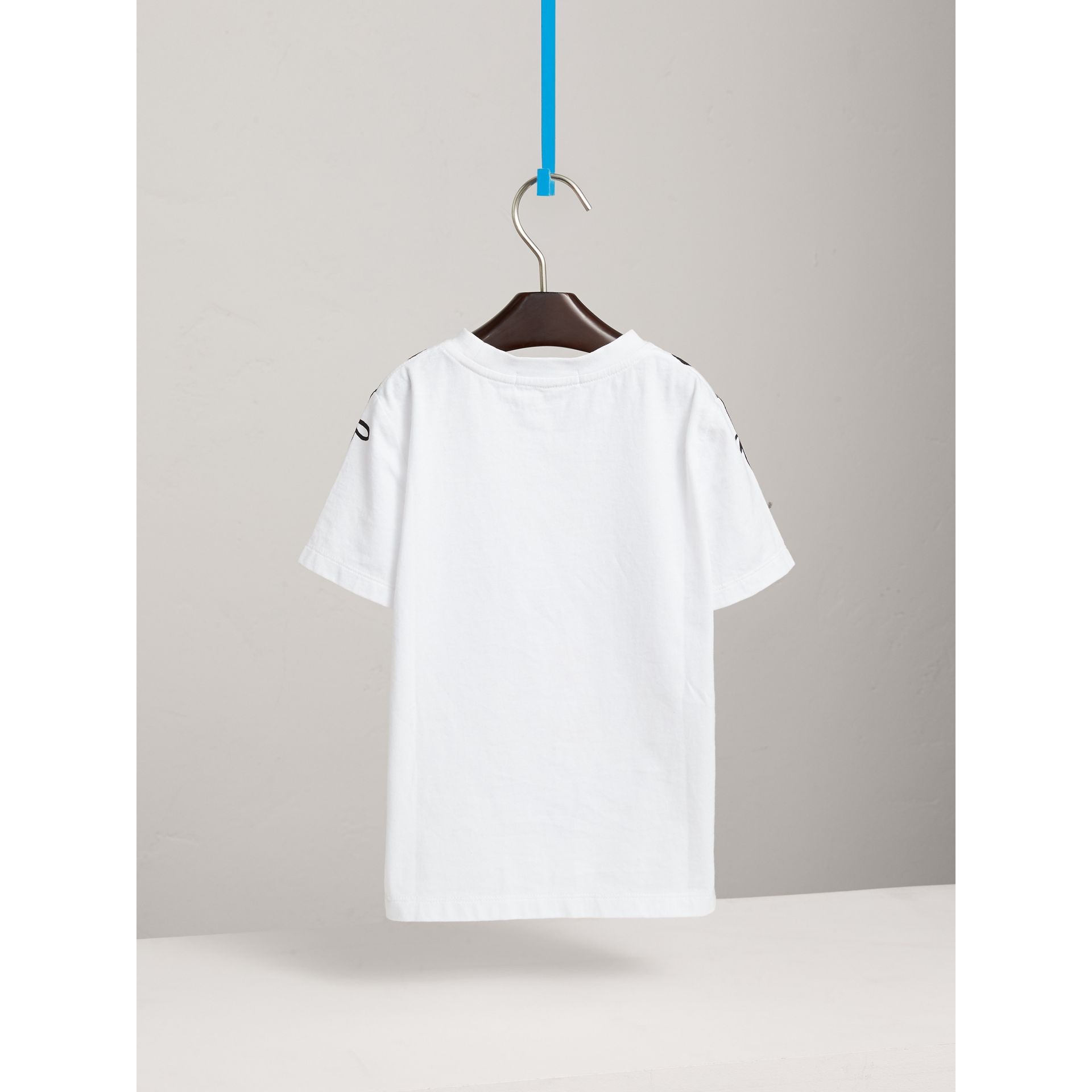Left Right Print Cotton T-shirt in White - Boy | Burberry - gallery image 4