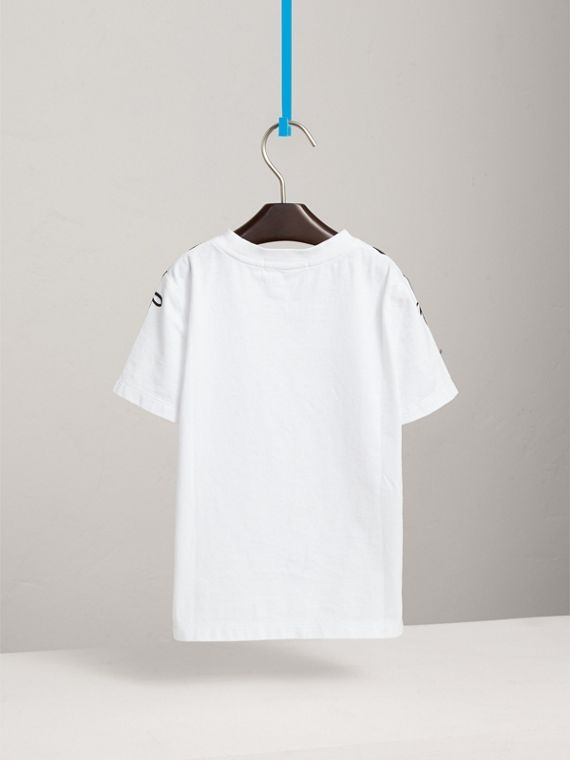 Left Right Print Cotton T-shirt in White - Boy | Burberry - cell image 3