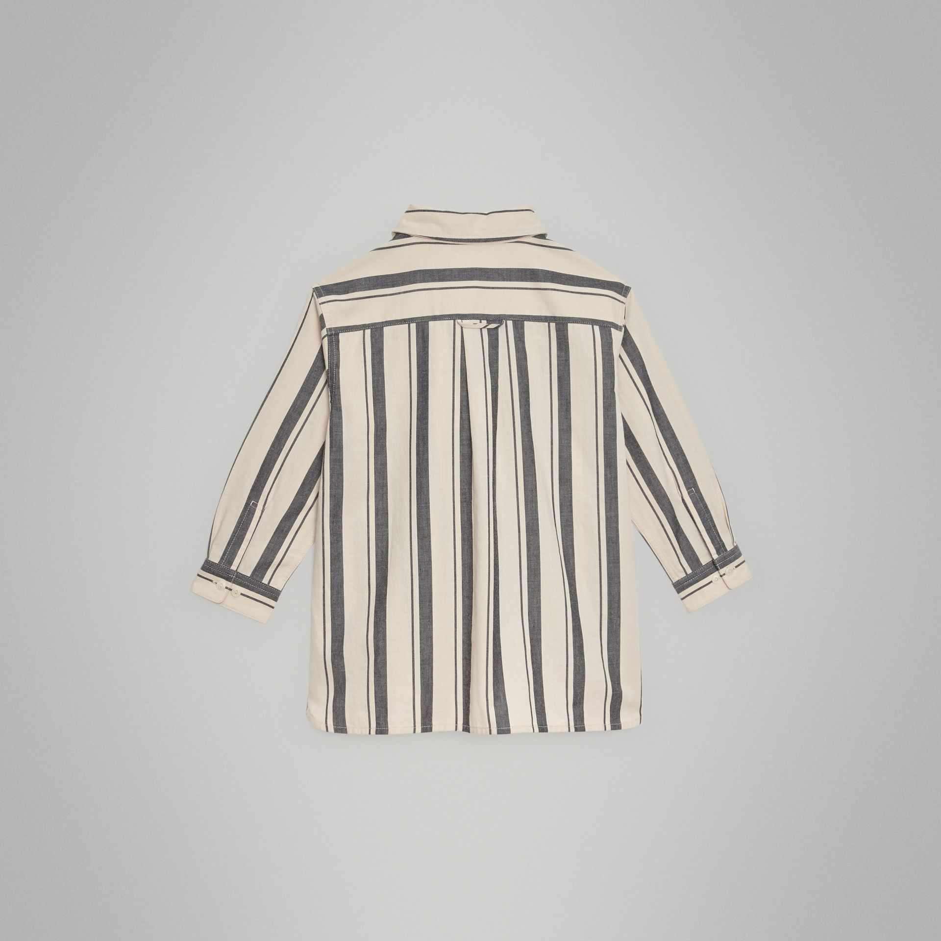 Striped Cotton Wool Shirt in Dark Grey | Burberry Canada - gallery image 3