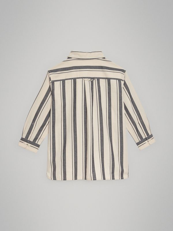 Striped Cotton Wool Shirt in Dark Grey | Burberry - cell image 3