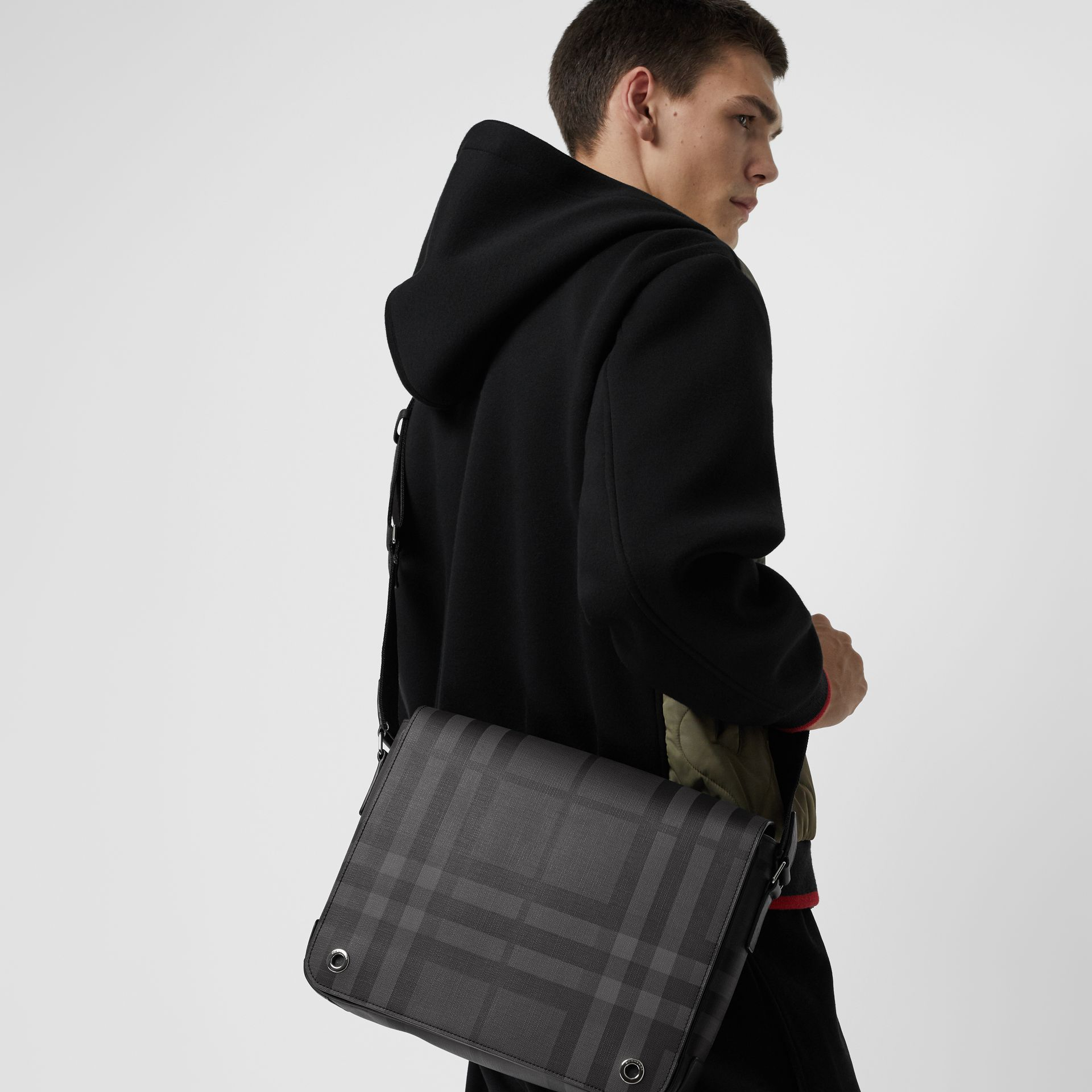 Small London Check Satchel in Charcoal/black - Men | Burberry - gallery image 3
