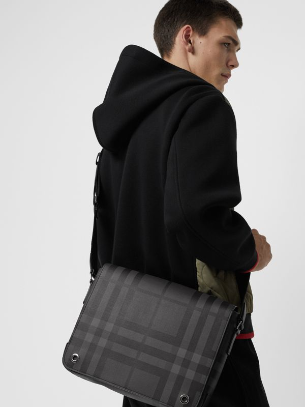 Small London Check Satchel in Charcoal/black - Men | Burberry - cell image 3