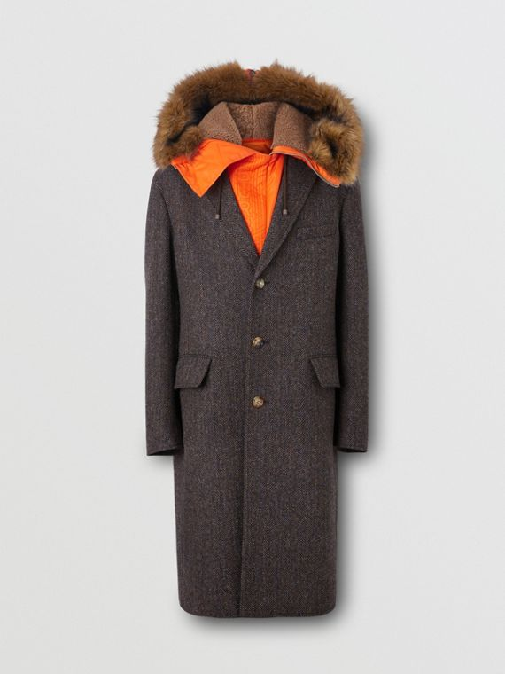 Detachable Hood Herringbone Wool Tailored Coat in Brown