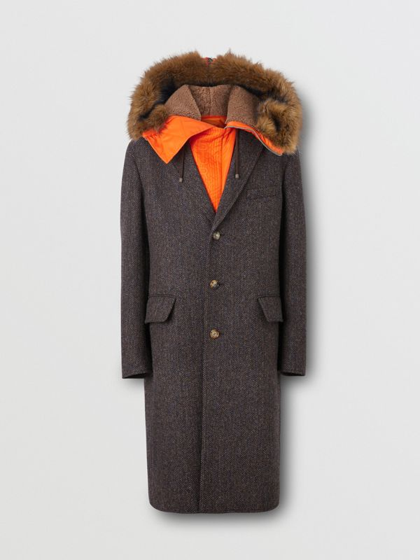 Detachable Hood Herringbone Wool Tailored Coat in Brown - Men | Burberry United Kingdom - cell image 3
