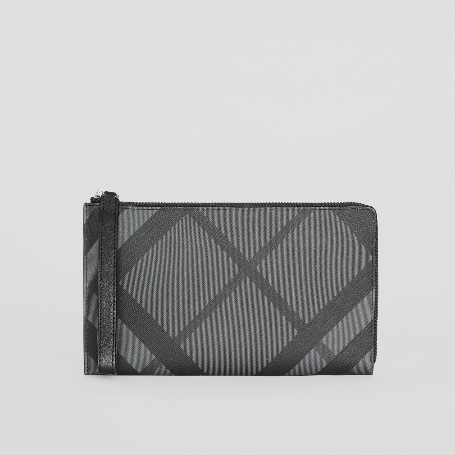 London Check and Leather Travel Wallet in Charcoal/black - Men | Burberry - gallery image 0