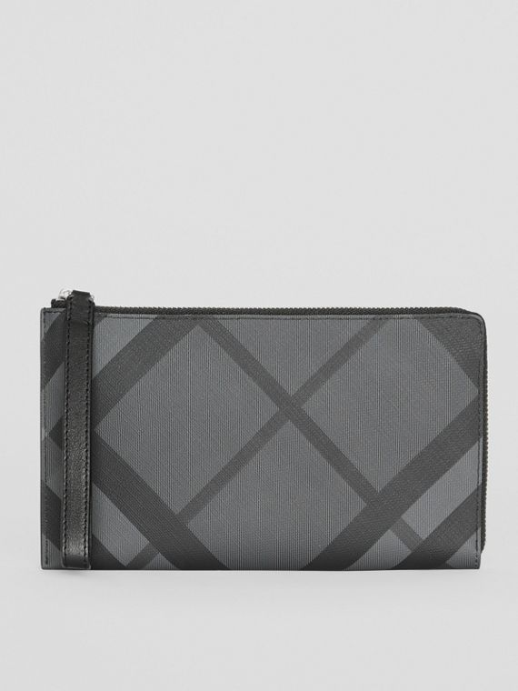 London Check and Leather Travel Wallet in Charcoal/black