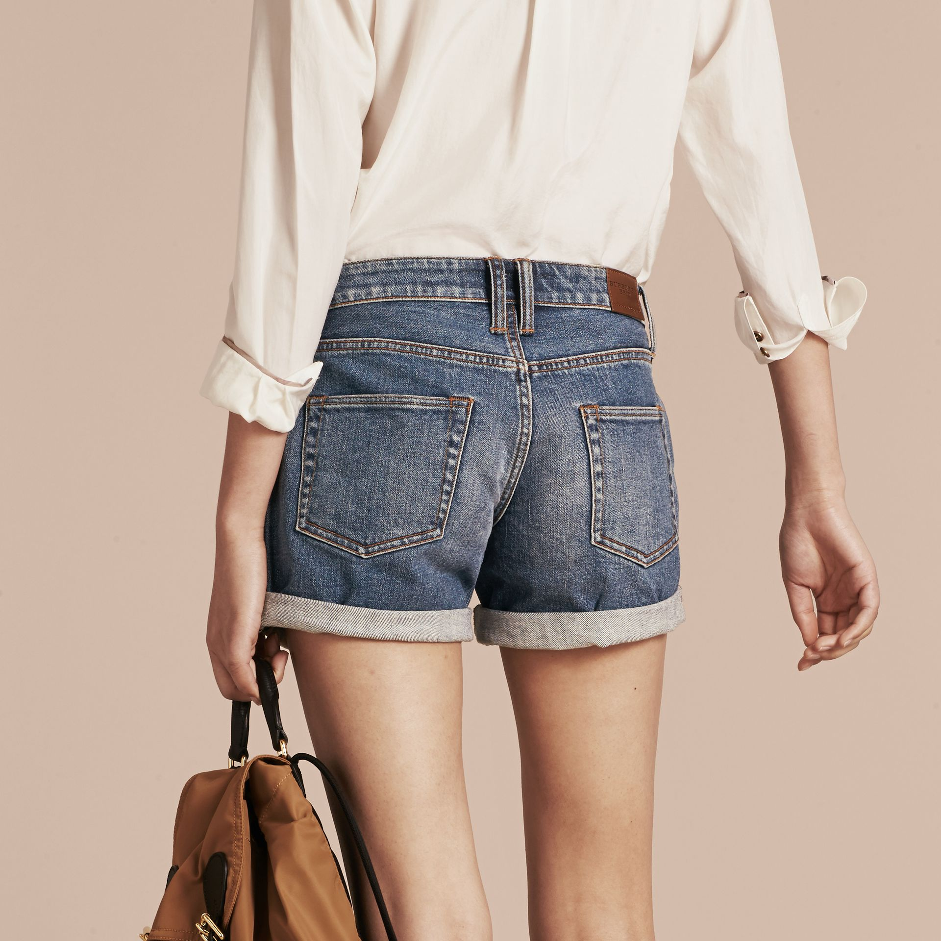 Mid indigo Low-rise Denim Shorts - gallery image 3