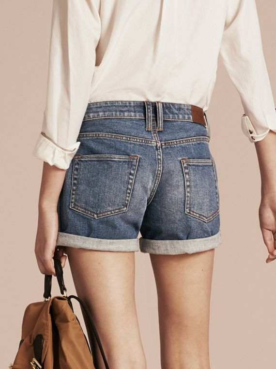 Mid indigo Low-rise Denim Shorts - cell image 2