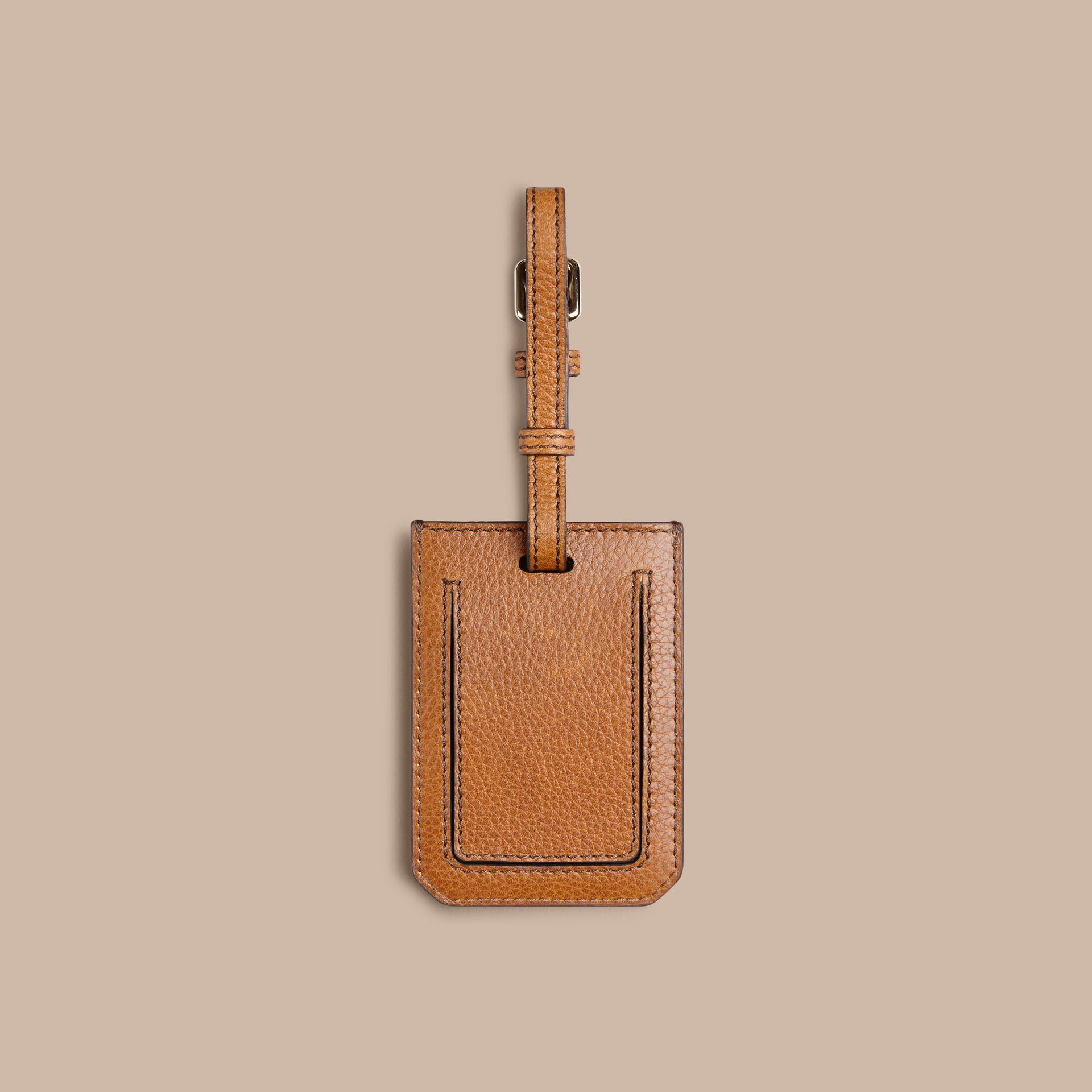 Grainy Leather Luggage Tag in Tan | Burberry Canada - gallery image 2