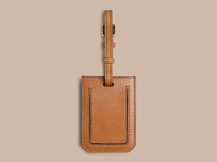 Grainy Leather Luggage Tag in Tan | Burberry Canada - cell image 1
