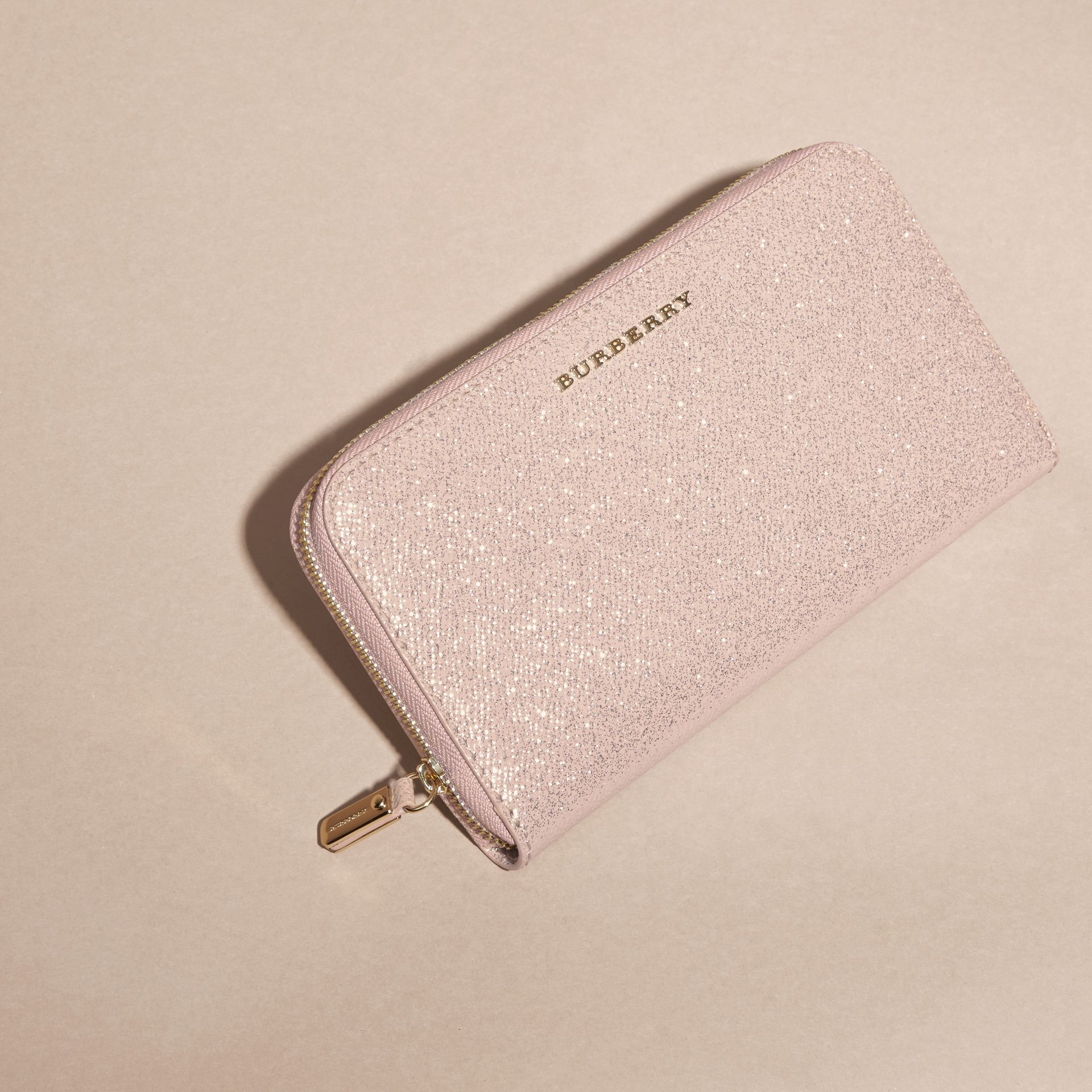 Glitter Patent London Leather Ziparound Wallet in Pale Orchid - gallery image 3
