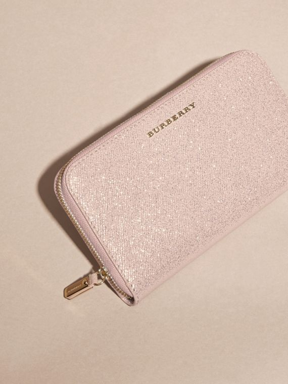 Glitter Patent London Leather Ziparound Wallet in Pale Orchid - cell image 2