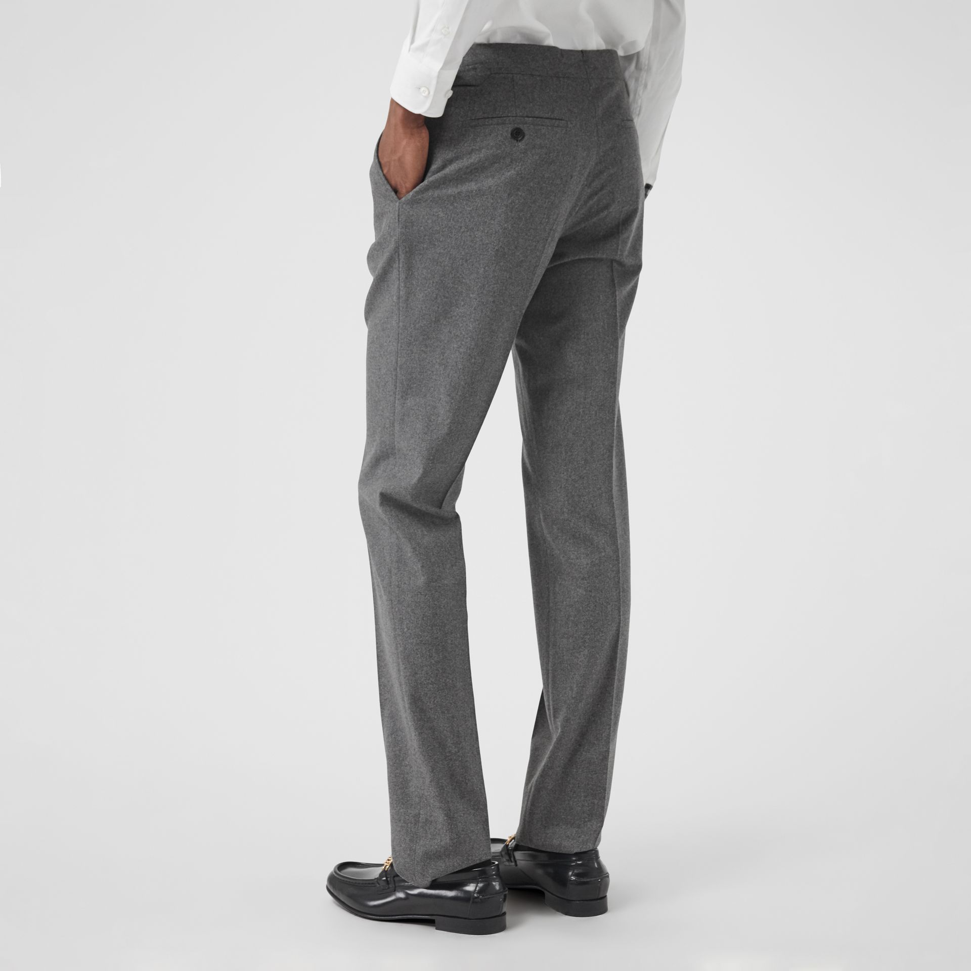 Wool Cashmere Tailored Trousers in Mid Grey Melange - Men | Burberry Singapore - gallery image 2