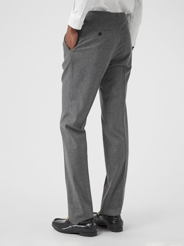 Wool Cashmere Tailored Trousers in Mid Grey Melange - Men | Burberry Singapore - cell image 2