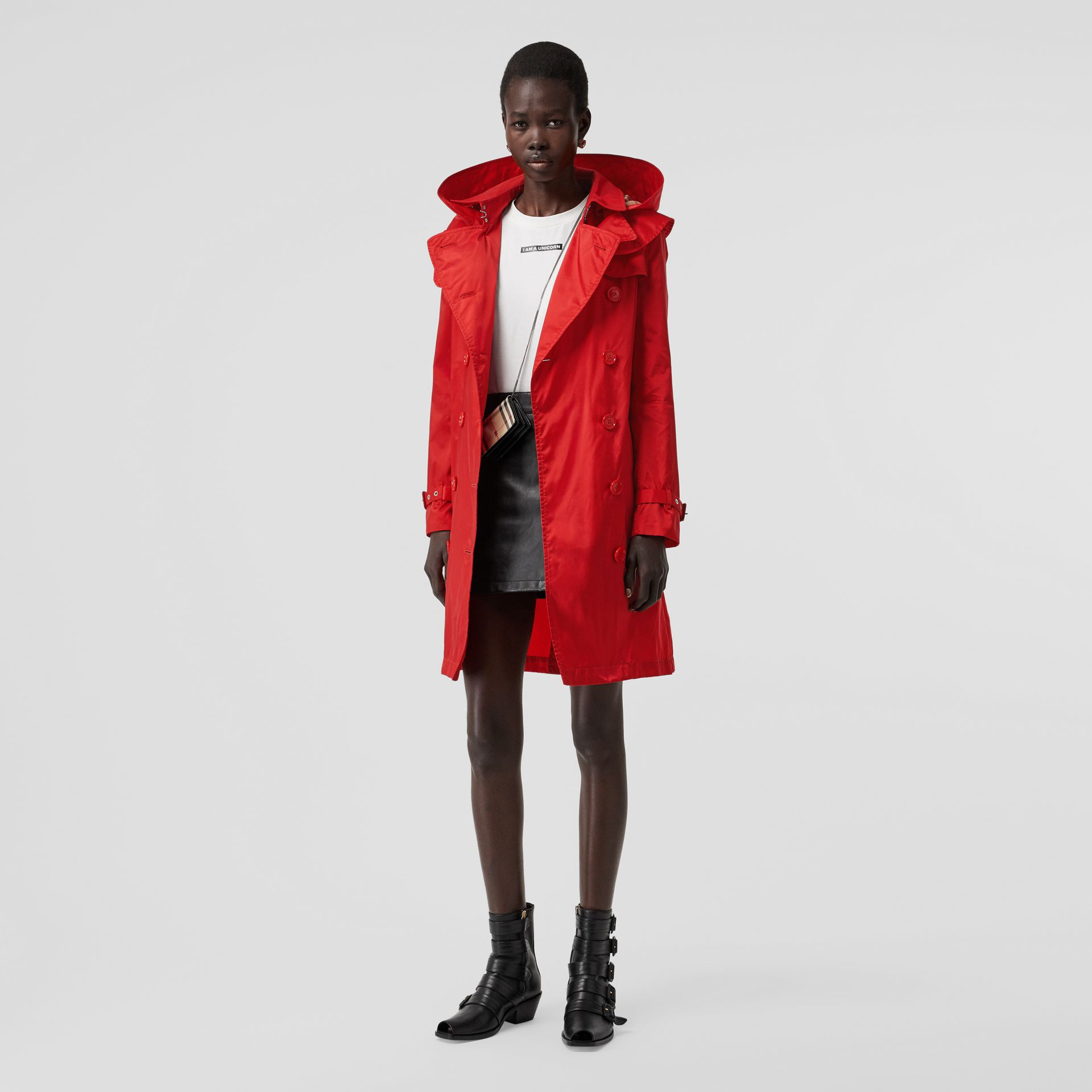 Detachable Hood ECONYL® Trench Coat in Bright Red - Women | Burberry United Kingdom - gallery image 0