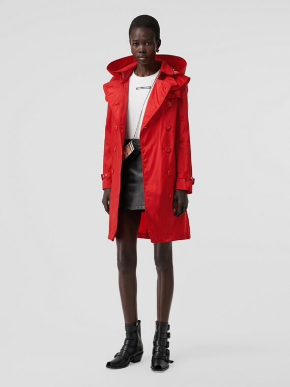 Detachable Hood ECONYL® Trench Coat in Bright Red