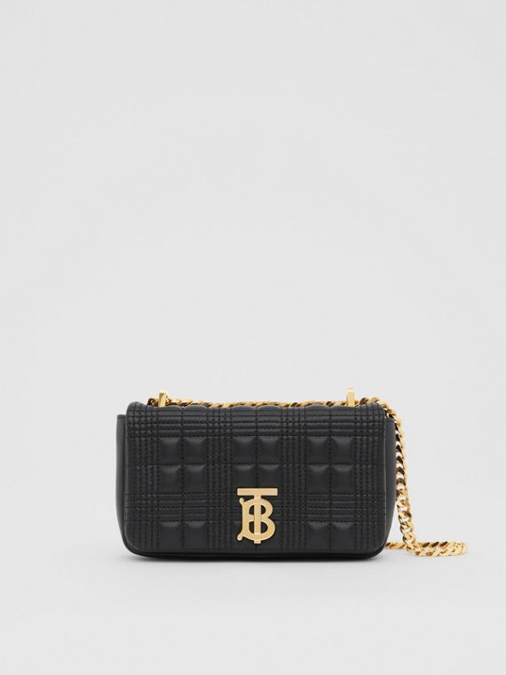 Mini Quilted Lambskin Lola Bag in Black/light Gold