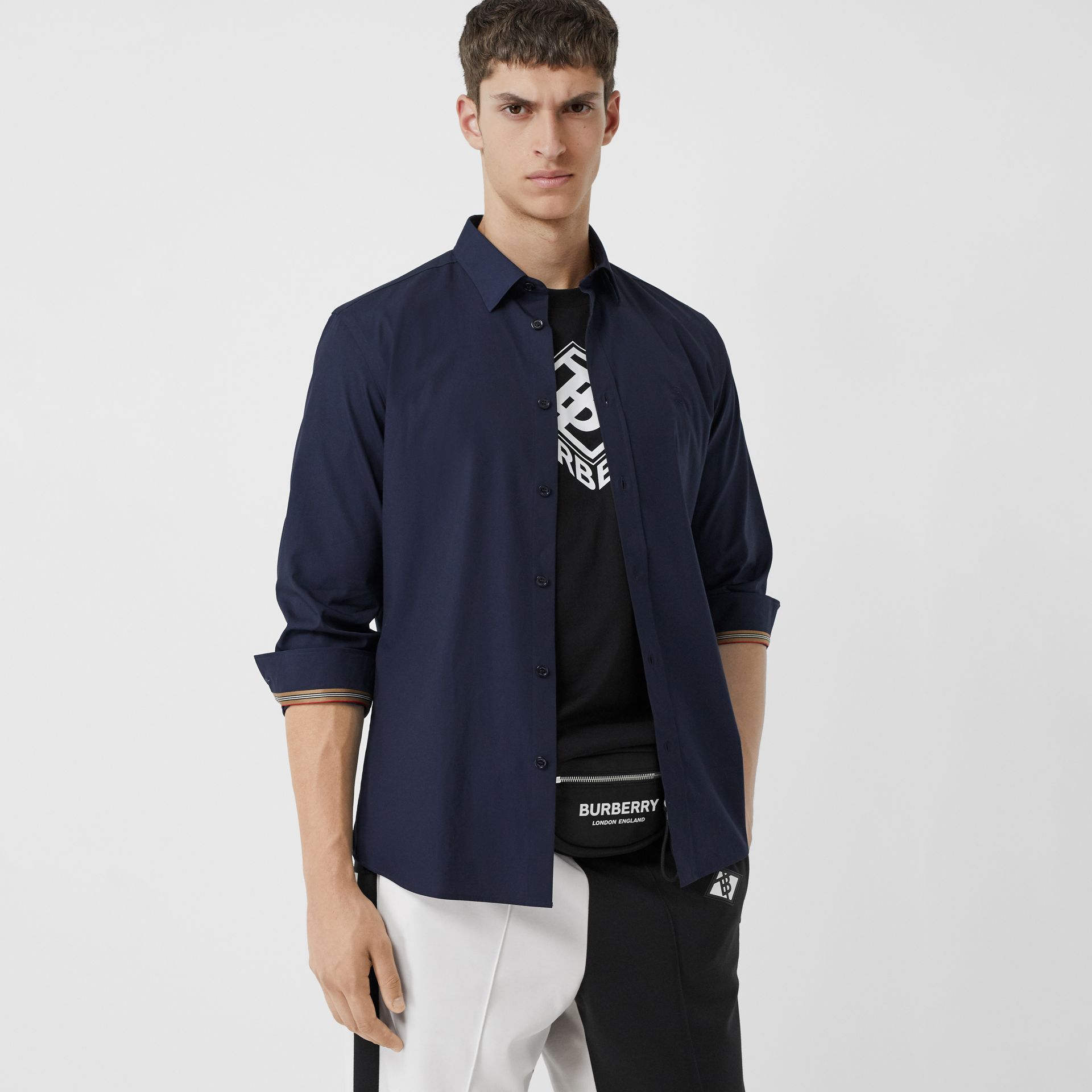 Monogram Motif Stretch Cotton Poplin Shirt in Navy - Men | Burberry - gallery image 5
