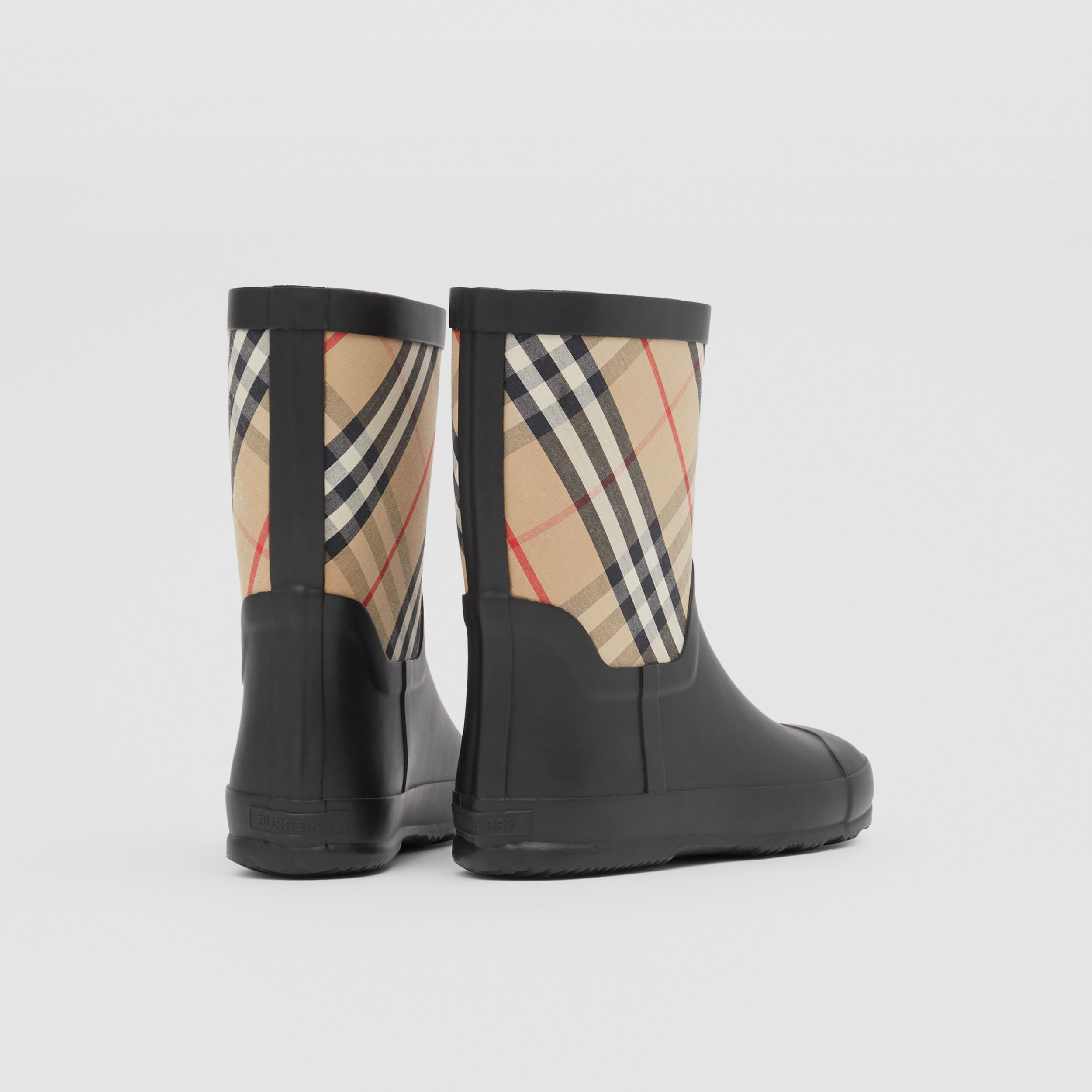 House Check Rubber Rain Boots in Archive Beige - Children | Burberry - 3
