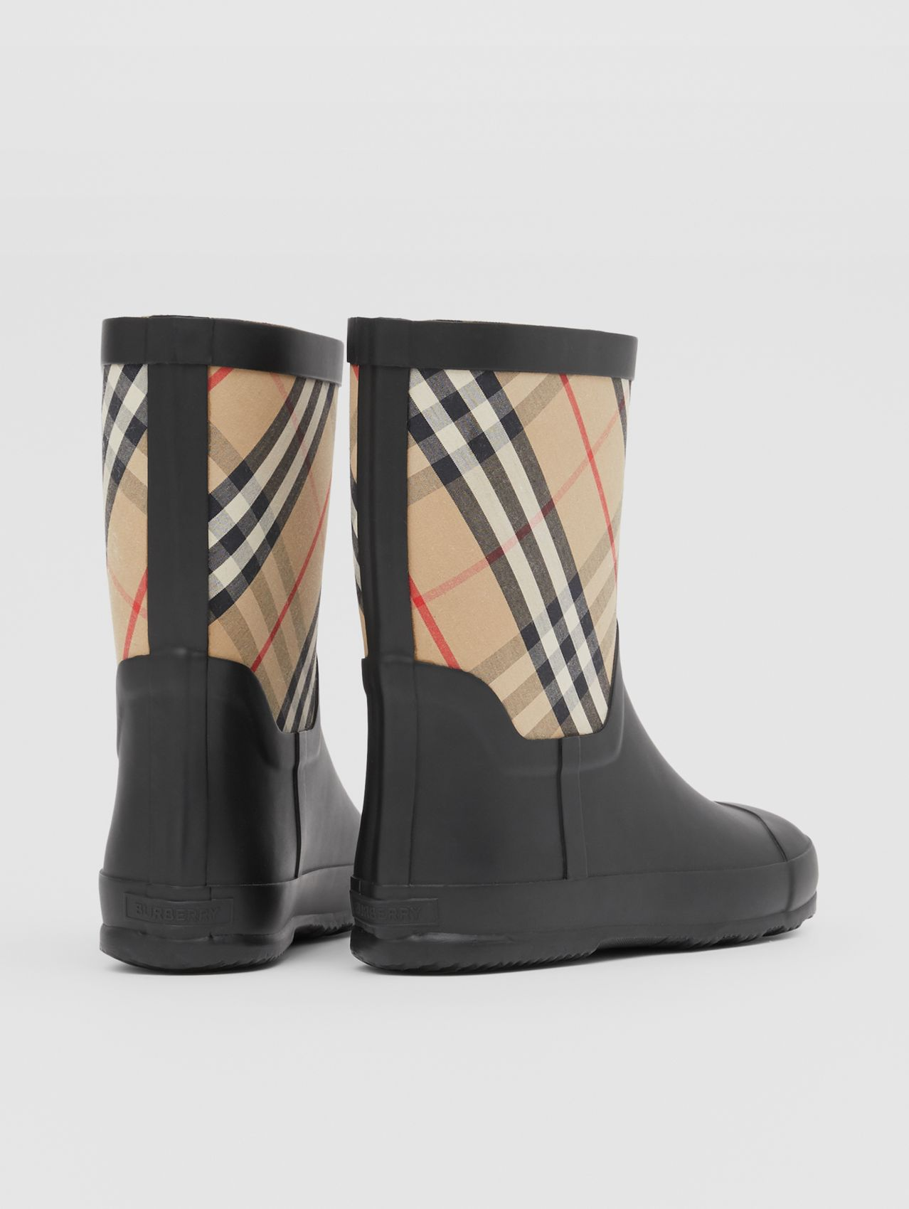 House Check Rubber Rain Boots in Archive Beige