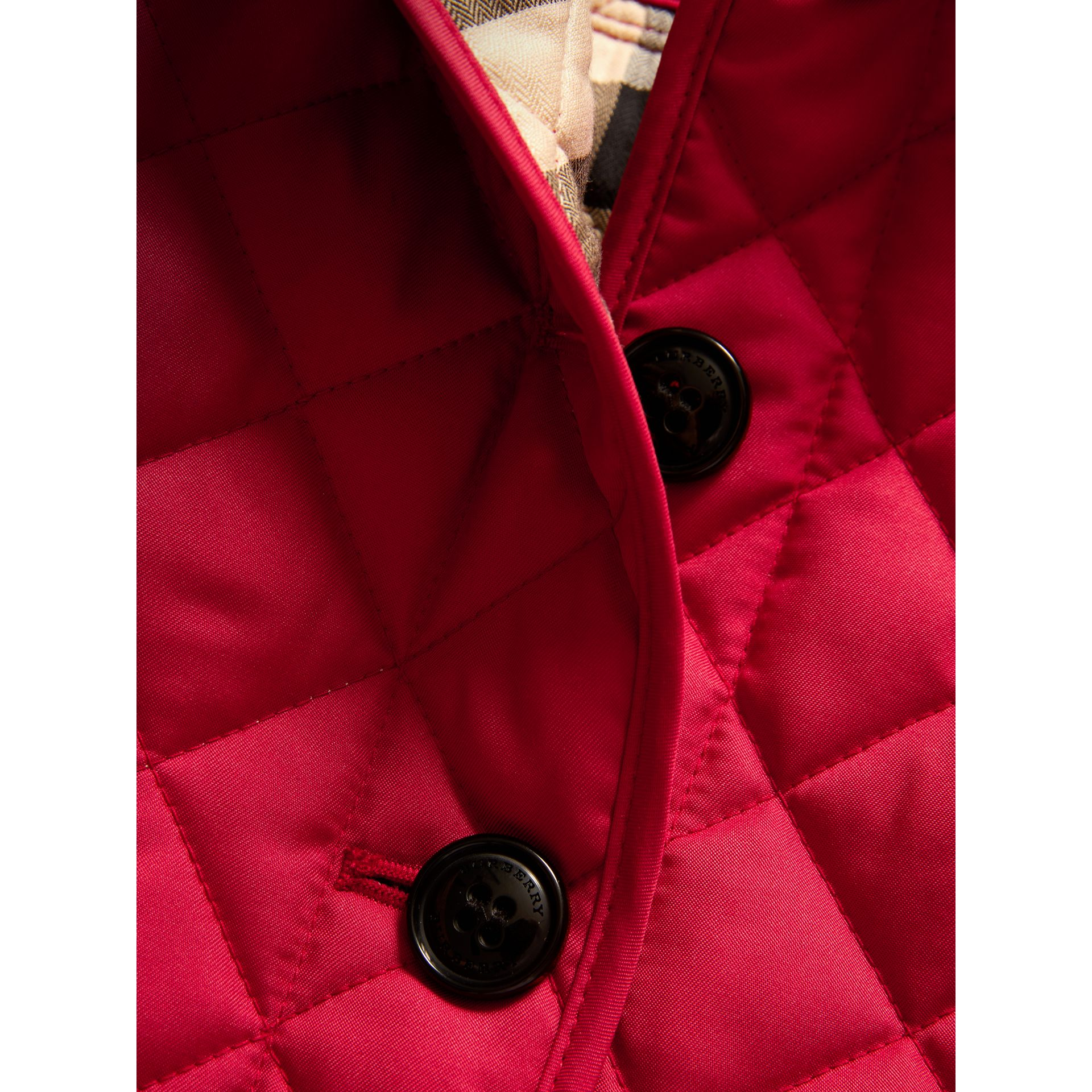 Check Lined Diamond Quilted Jacket in Crimson Pink - Girl | Burberry Canada - gallery image 1