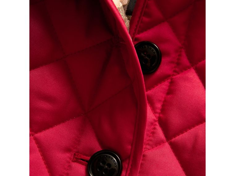 Check Lined Diamond Quilted Jacket in Crimson Pink - Girl | Burberry - cell image 1
