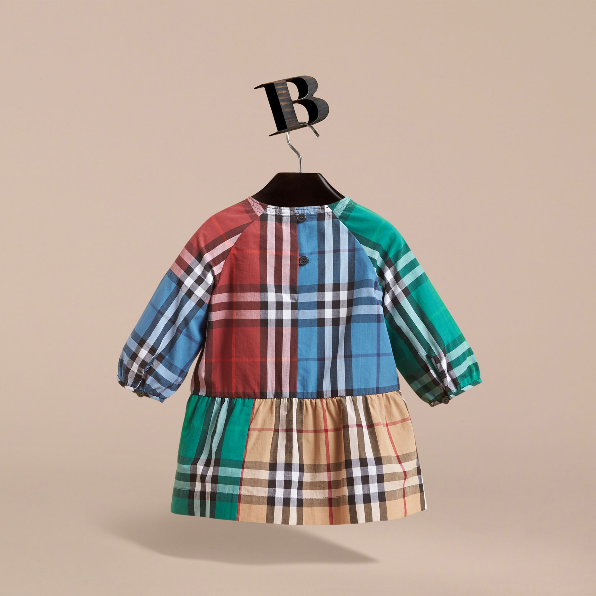 Colour Block Check Cotton Gathered Dress in Camel | Burberry Canada - gallery image 4