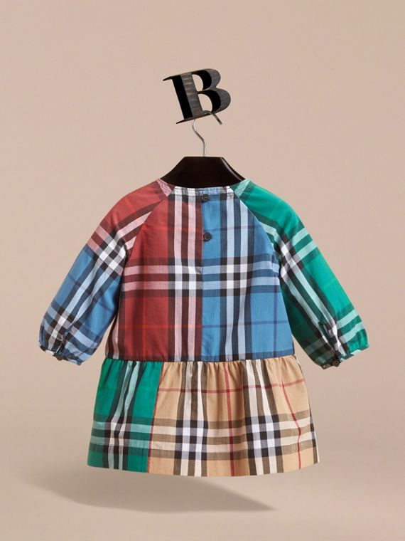 Colour Block Check Cotton Gathered Dress in Camel | Burberry - cell image 3