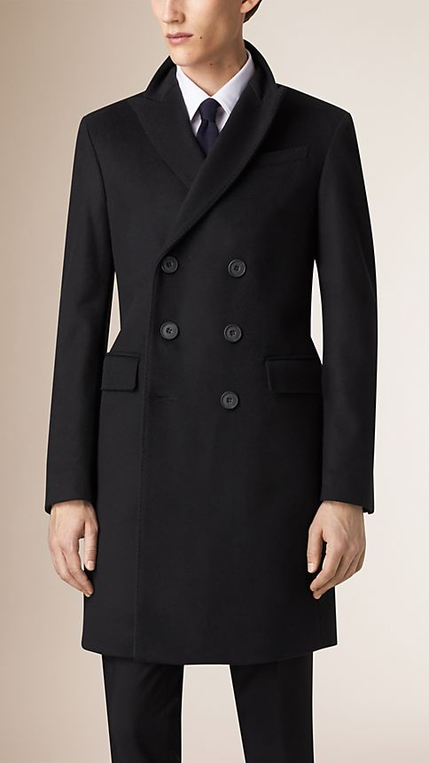 Black Wool Cashmere Peak Lapel Topcoat - Image 4